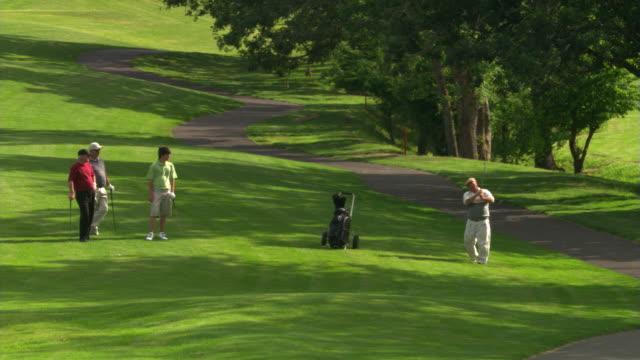 vídeos y material grabado en eventos de stock de golfers in the shade - campo de golf links