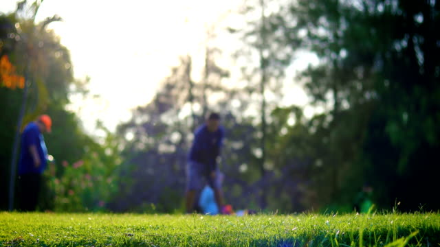 golfers on golf course in the morning - golf course stock videos and b-roll footage
