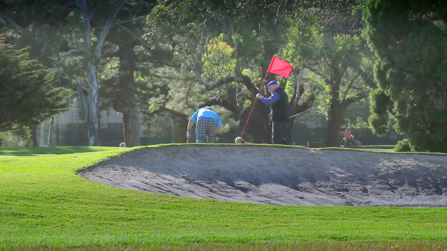vídeos y material grabado en eventos de stock de ms golfers putting on green at albert park / melbourne, victoria, australia - bandera de golf