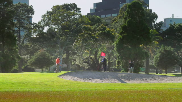 ws golfers putting on green at albert park / melbourne, victoria, australia - putting green stock videos & royalty-free footage