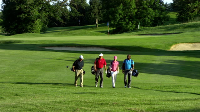 ws golfers walking on the golf course - golf stock videos & royalty-free footage