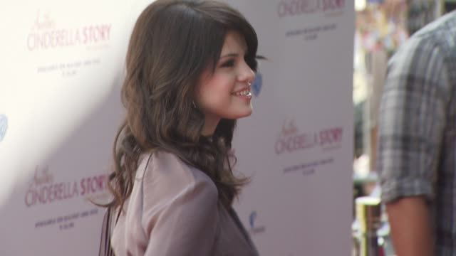 gomez selena gomez at the the premiere of warner premiere's another cinderella story at los angeles ca - cinderella stock videos & royalty-free footage