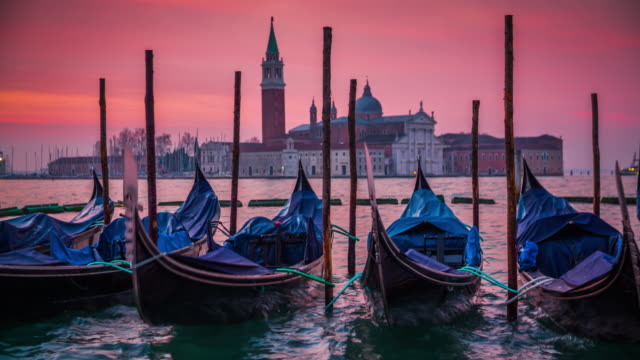 gondalas and san giorgio maggiore church in venice italy - romantic sky stock videos & royalty-free footage