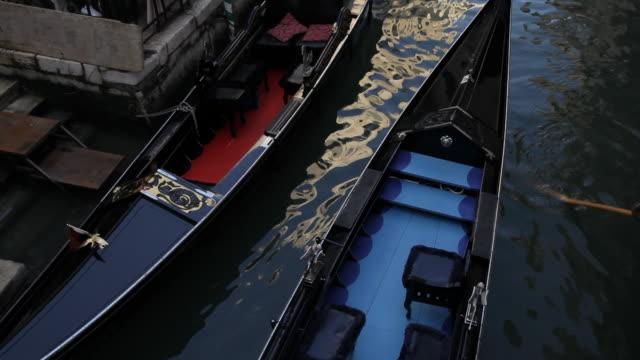 WS HA TU Gondola Floating Past Restaurant down Canal / Venice, Italy