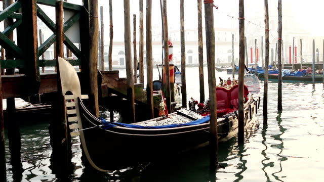 Gondola moored in Venice.