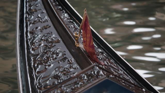 CU R/F Gondola moving in Grand Canal / Venice, Italy