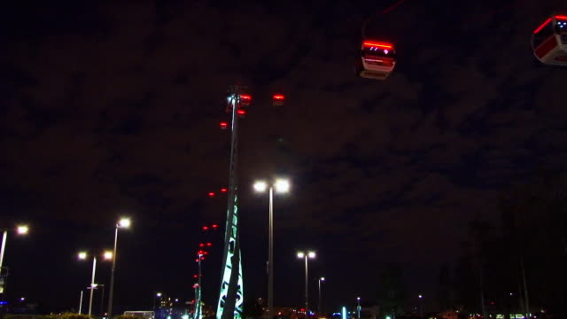 WS LA Gondola of overhead cable car at night / Emirates Greenwich Peninsula, London, England, United Kingdom