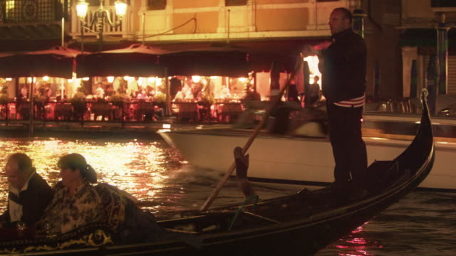 Gondola on the Grand Canal at night