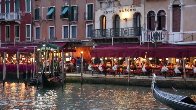 A gondola travelling along the Grand Canal