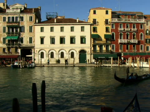 ws gondolas and motor boat traveling on grand canal / venice, italy - unknown gender stock videos & royalty-free footage