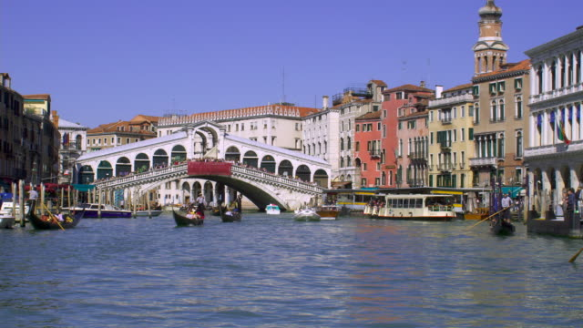 gondolas and other boats travel on the grand canal in venice, italy. - other stock videos & royalty-free footage