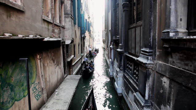 ms gondolas flowing in small canal / venice, veneto, italy - canal stock videos & royalty-free footage
