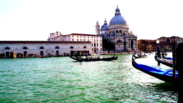hd super slow-mo: gondolas in the grand canal - grand canal venice stock videos & royalty-free footage