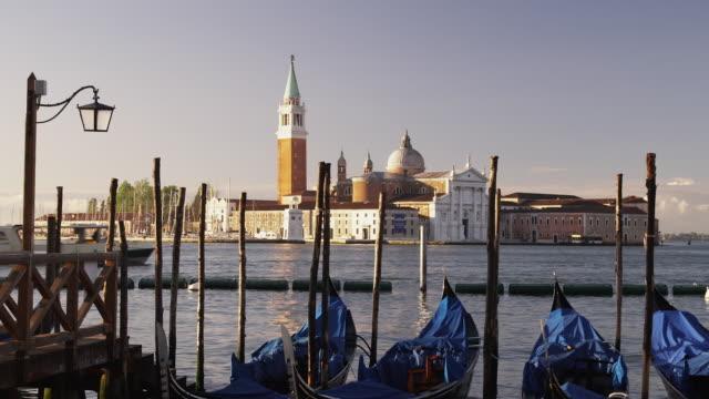 MS, Gondolas moored on Piazzetta San Marco, San Giorgio Maggiore church in background, Venice, Italy