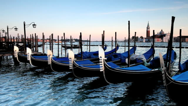 ms gondolas moored with island of san giorgio maggiore / venice, italy - medium group of objects stock videos & royalty-free footage
