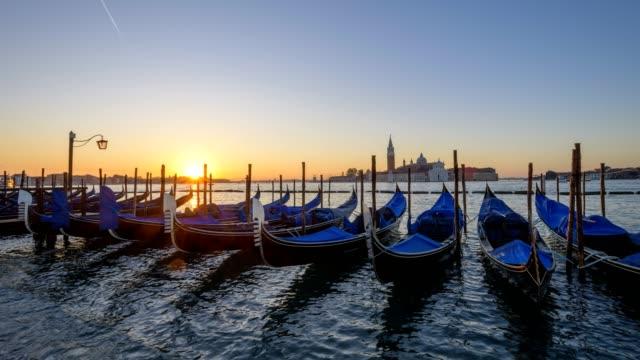 Gondolas on Grand Canal with San Giorgio Maggiore at sunrise, Venice, Venetian Lagoon, Veneto, Italy