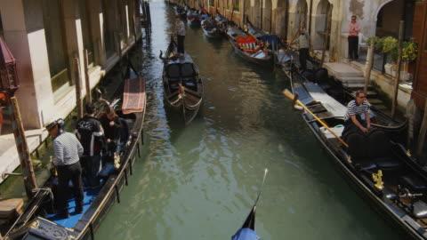 ms, ha, gondolas on rio san moise, venice, italy - canal stock videos & royalty-free footage