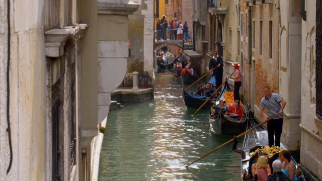 ms, ha, gondolas on rio san salvador, venice, italy - venice italy stock videos & royalty-free footage