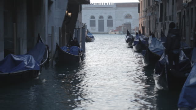 stockvideo's en b-roll-footage met gondolas parked on a canal in venice. - passagiersboot