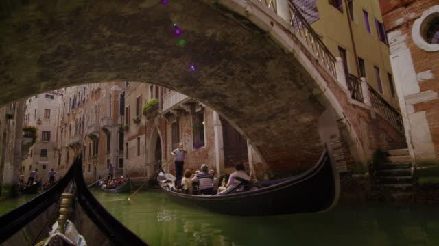 Gondolas pass under a bridge in slow motion