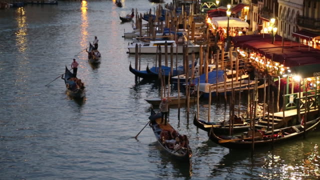 Gondolas travelling along the Grand Canal