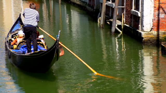 HD SUPER SLOW-MO: Gondolier Riding Gondola With Tourists