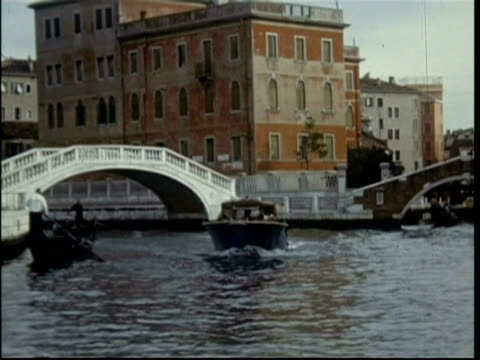 Gondoliers on the canals in Venice, Italy, 1950