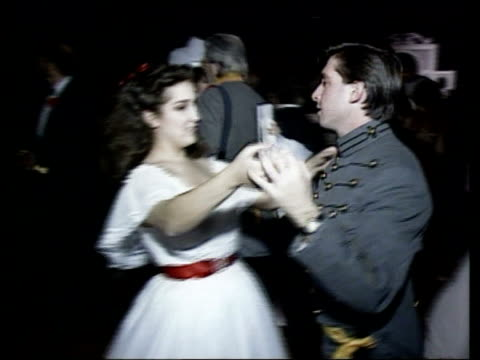 50th anniversary itn usa georgia atlanta people dancing at costume ball men dressed as confederate soldiers and women wearing hoopskirted atlanta... - look alike stock videos and b-roll footage