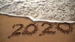 Good Bye 2020. Happy New Year 2021 on Sand Sea Wave Beach
