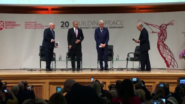 architects come together to commemorate deal northern ireland belfast queen's university belfast int wide shot george mitchell bill clinton tony... - minister president stock videos and b-roll footage