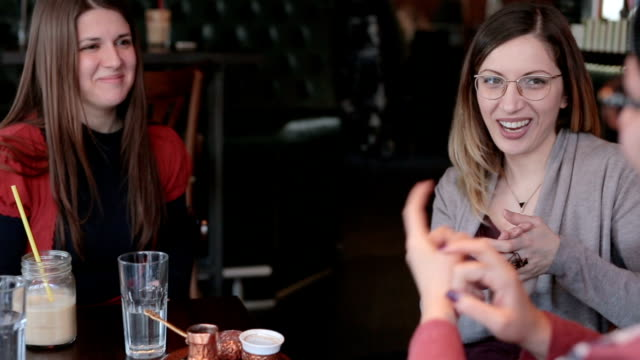 vídeos y material grabado en eventos de stock de buenos amigos hablando en lengua de signos - sordera
