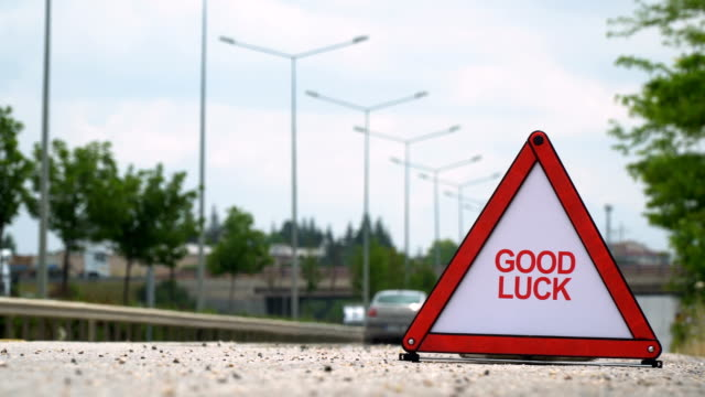 good luck - traffic sign - segnaletica stradale video stock e b–roll