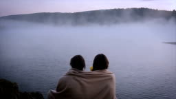 good morning! beautiful view of the foggy lake