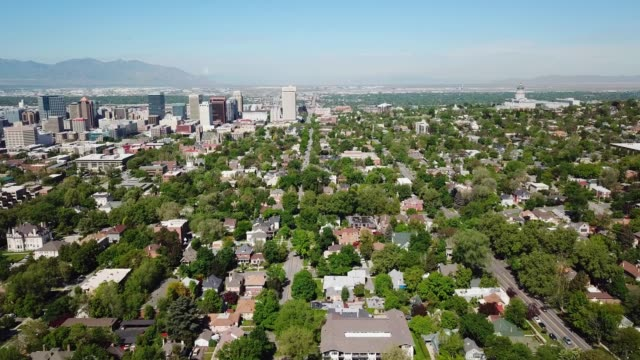 vidéos et rushes de salt lake city de good morning ! dans l'utah, vu de l'air - utah