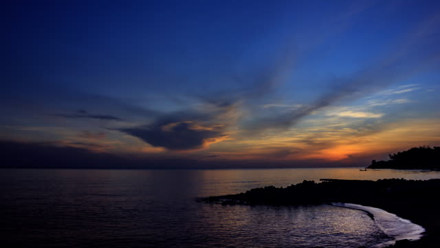 good morning sunrise from the sea - songkhla province stock videos and b-roll footage