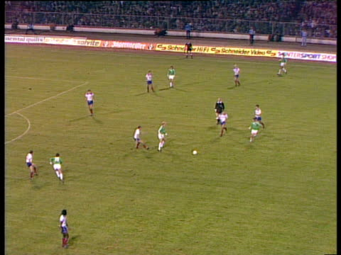 Good passing move from West Germany culminates with perfect layoff by Pierre Littbarski into path of captain KarlHeinz Rummenigge who scores with...