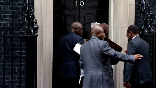goodluck jonathon meets david cameron england london westminster downing street ext theresa may leaving number ten and getting into car /... - nigerian flag stock videos & royalty-free footage