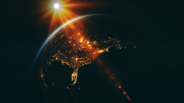 goodnight america, sunset and night. - satellite view stock videos & royalty-free footage