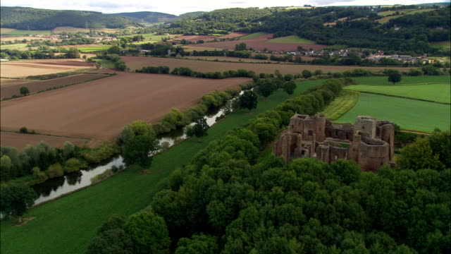 goodrich castle  - aerial view - england, herefordshire, united kingdom - herefordshire stock videos & royalty-free footage