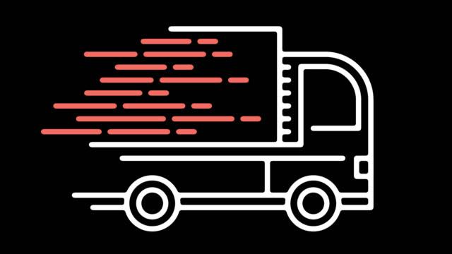 vídeos de stock, filmes e b-roll de mercadorias entrega linha ícone animação com alfa - caminhão