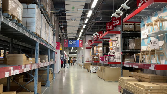 goods shelf area in an ikea store. - household equipment stock videos & royalty-free footage
