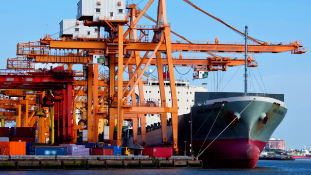 Goods Trading at port Terminal Container ship Time-lapse