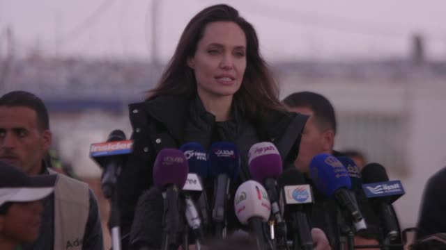 un goodwill ambassador angelina jolie urged the un security council to find a way to solve syria's nearly eight year war during a tour sunday of a... - sonntag stock-videos und b-roll-filmmaterial