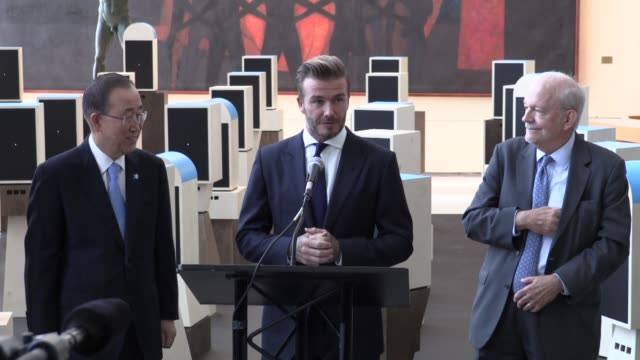 goodwill ambassador david beckham united nations secretarygeneral ban kimoon and unicef executive director anthony lake unveil of a digital... - executive director stock videos & royalty-free footage