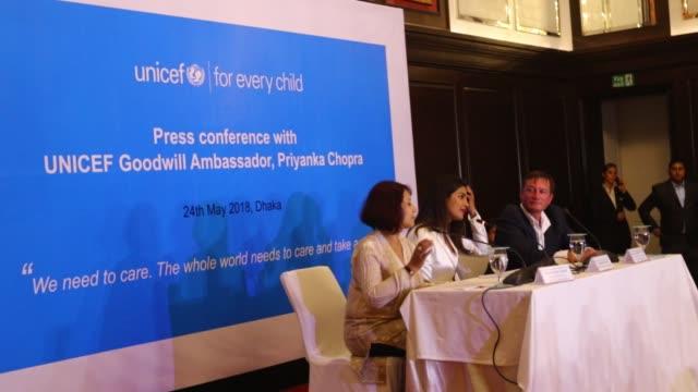 Goodwill Ambassador Indian actress Priyanka Chopra speaks during a press conference in the Bangladeshi capital Dhaka on May 24 2018 Chopra has been...