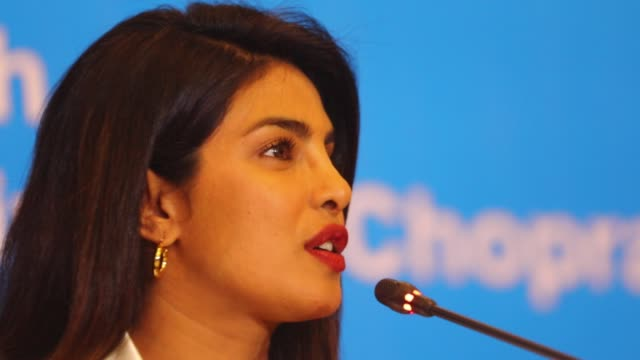 goodwill ambassador indian actress priyanka chopra speaks during a press conference in the bangladeshi capital dhaka on may 24 2018 chopra has been... - bollywood stock videos and b-roll footage