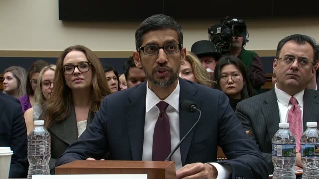 google ceo sundar pichai explains to the house judiciary committee at a hearing on alleged search bias and data practices that 20 years earlier to... - gedächtnisstütze stock-videos und b-roll-filmmaterial