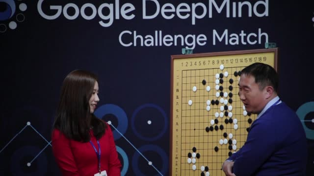 a google developed supercomputer stuns south korean go grandmaster lee se dol by taking the first game of a five match showdown between man and... - google brand name stock videos and b-roll footage