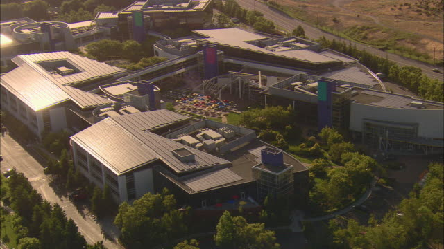 aerial 'googleplex', google's silicon valley headquarters, mountainview, california, usa - silicon valley stock videos & royalty-free footage