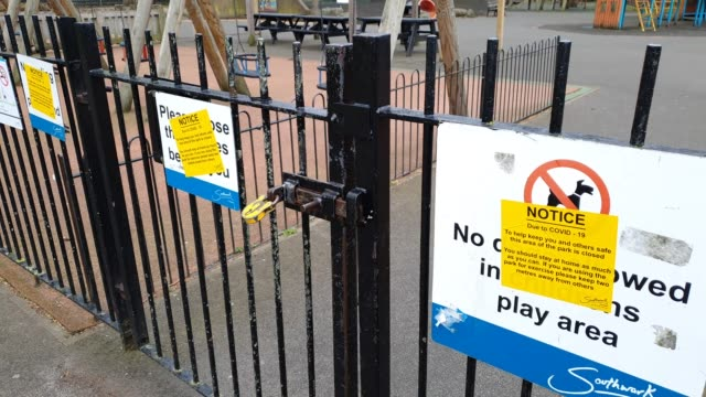 goose green play area east dulwich is closed to the public during the coronavirus pandemic on march 30 2020 in london england - brian dayle coronavirus stock videos & royalty-free footage